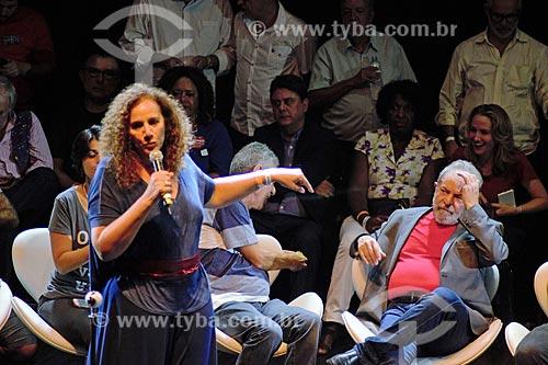 Jandira Feghali e o ex-presidente Luiz Inácio Lula da Silva durante ato em defesa da democracia no Circo Voador  - Rio de Janeiro - Rio de Janeiro (RJ) - Brasil