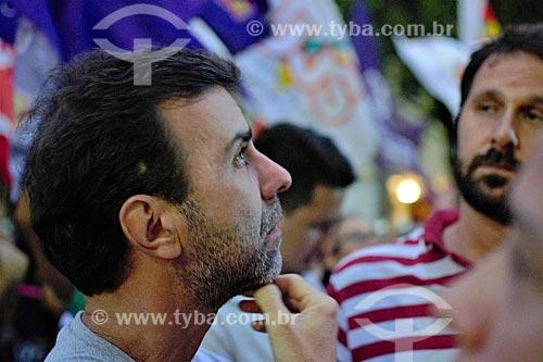 Deputado Marcelo Freixo na manifestação contra a prisão do ex-Luiz Inácio Lula da Silva na Cinelândia  - Rio de Janeiro - Rio de Janeiro (RJ) - Brasil