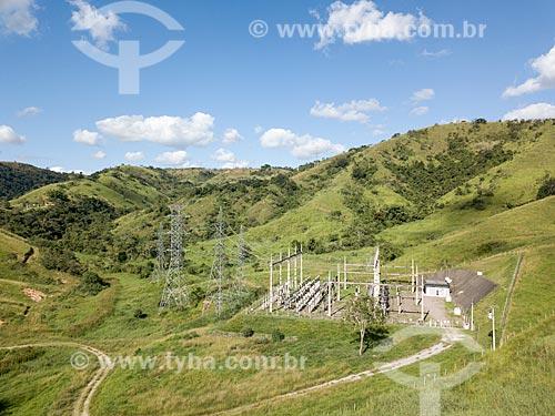 Foto feita com drone da subestação da ENEL - concessionária de serviços de transmissão de energia - antiga Ampla Energia e Serviços S.A - no Km 21 da Rodovia BR-040 próximo à Três Rios  - Três Rios - Rio de Janeiro (RJ) - Brasil