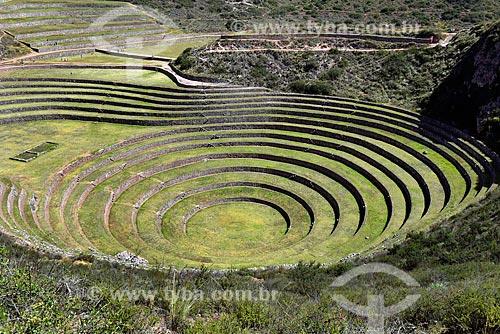 Vista geral das ruínas Incas de Moray  - Maras - Província de Urubamba - Peru