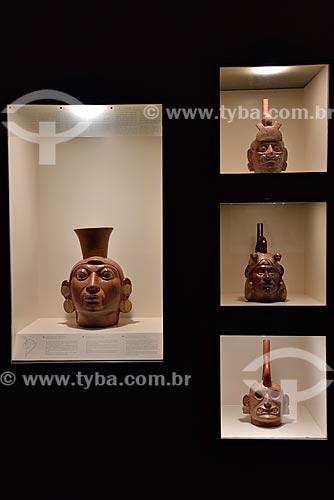 Vasos Retratos Mochica - Períodos Auge - 1 d.C. - 800 d.C. - em exibição no Museo Arqueológico Rafael Larco Herrera (Museu Arqueológico Rafael Larco Herrera)  - Lima - Província de Lima - Peru