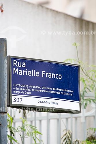 Detalhe de placa em homenagem à vereadora Marielle Franco na esquina da Rua João Pualo I com a Rua Joaquim Palhares  - Rio de Janeiro - Rio de Janeiro (RJ) - Brasil