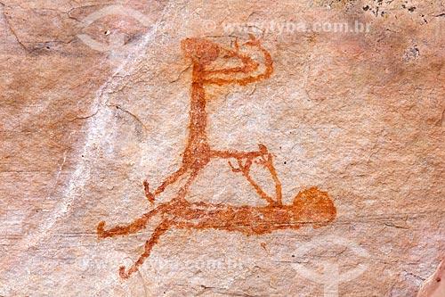 Detalhe de pintura rupestre - figura de pessoas - no Sítio Arqueológico Toca do João Arsena no Parque Nacional Serra da Capivara  - São Raimundo Nonato - Piauí (PI) - Brasil
