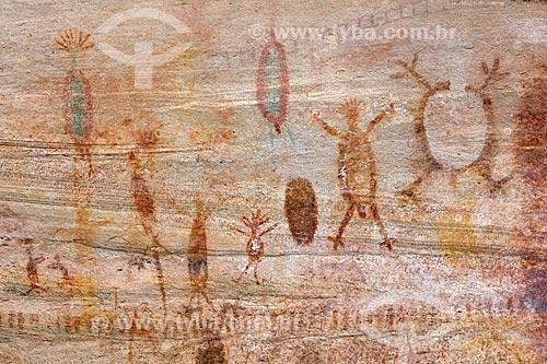 Detalhe de pintura rupestre - figura de animais e pessoas - no Sítio Arqueológico Toca do João Arsena no Parque Nacional Serra da Capivara  - São Raimundo Nonato - Piauí (PI) - Brasil