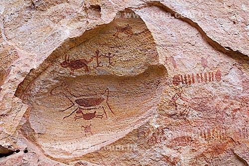 Detalhe de pintura rupestre - figura de animais e pessoas - no Sítio Arqueológico Toca do Boqueirão da Pedra Furada no Parque Nacional Serra da Capivara  - Coronel José Dias - Piauí (PI) - Brasil