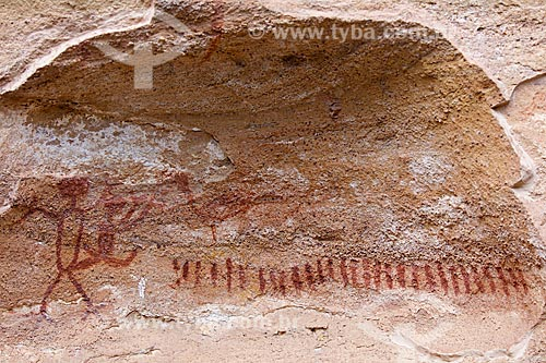 Detalhe de pintura rupestre - figuras de pessoas - no Sítio Arqueológico Toca do Boqueirão da Pedra Furada no Parque Nacional Serra da Capivara  - Coronel José Dias - Piauí (PI) - Brasil