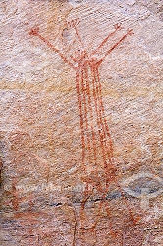 Detalhe de pintura rupestre - figura de animal - no Sítio Arqueológico Toca Pinga do Boi no Parque Nacional Serra da Capivara  - São Raimundo Nonato - Piauí (PI) - Brasil