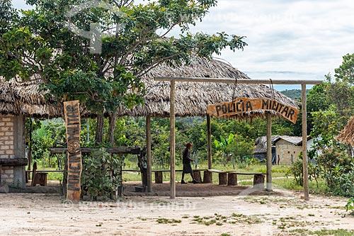 Cabine da Polícia construída em madeira na Comunidade Calunga próxima à cidade de Cavalcante  - Cavalcante - Goiás (GO) - Brasil