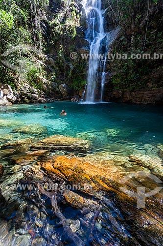 Banhistas na Cachoeira Barbarinha no Parque Nacional da Chapada dos Veadeiros  - Alto Paraíso de Goiás - Goiás (GO) - Brasil