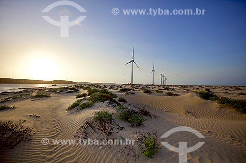 Vista do Parque Eólico Pedra do Sal no Delta do Parnaíba  - Ilha Grande - Piauí (PI) - Brasil