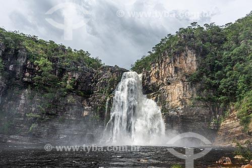 Vista da Cachoeira do Salto (80m) no Parque Nacional da Chapada dos Veadeiros  - Alto Paraíso de Goiás - Goiás (GO) - Brasil