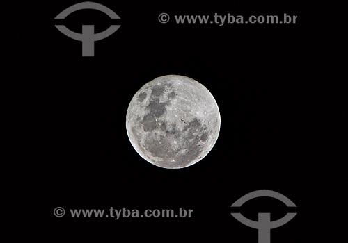 Vista de lua cheia a partir da Serra de Santo Antônio  - Campo Maior - Piauí (PI) - Brasil
