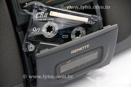 Detalhe de fita cassete em aparelho de som  - Brasil