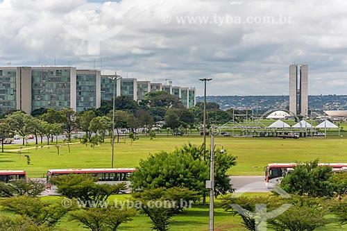Vista da Esplanada dos Ministérios com o Congresso Nacional ao fundo  - Brasília - Distrito Federal (DF) - Brasil