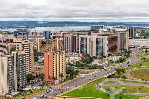 Vista de prédios do centro do Brasília a partir da Torre de TV de Brasília  - Brasília - Distrito Federal (DF) - Brasil