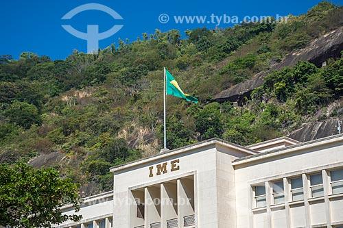 Detalhe de bandeira do Brasil hasteada no Instituto Militar de Engenharia  - Rio de Janeiro - Rio de Janeiro (RJ) - Brasil