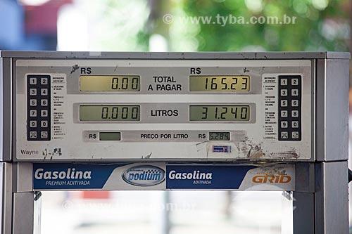 Detalhe de bomba de gasolina durante crise de abastecimento de combustíveis devido à greve dos caminhoneiros  - Rio de Janeiro - Rio de Janeiro (RJ) - Brasil
