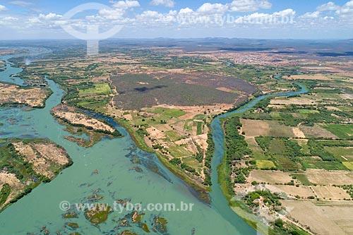 Foto feita com drone do Arquipélago de Assunção - divisa natural entre Bahia e Pernambuco  - Cabrobó - Pernambuco (PE) - Brasil