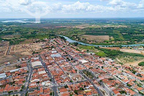 Foto feita com drone da cidade de Cabrobó com o Arquipélago de Assunção ao fundo  - Cabrobó - Pernambuco (PE) - Brasil