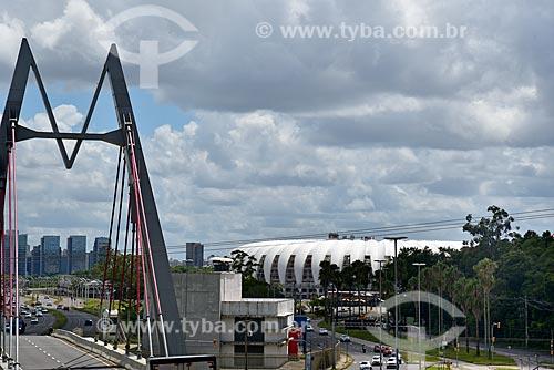 Vista do Viaduto Abdias do Nascimento - também conhecido como Ponte do Mazembe - com o Estádio José Pinheiro Borda (1969) - mais conhecido como Beira-Rio - ao fundo  - Porto Alegre - Rio Grande do Sul (RS) - Brasil