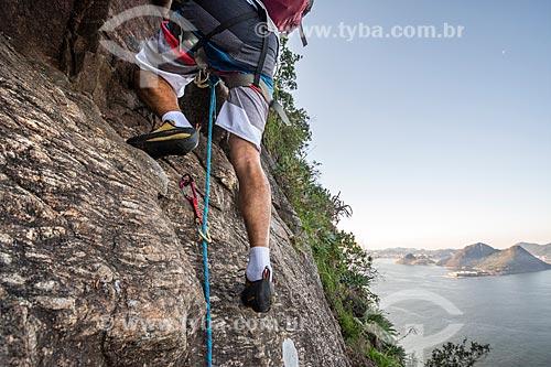 Vista da Baía de Guanabara durante a escalada do Pão de Açúcar  - Rio de Janeiro - Rio de Janeiro (RJ) - Brasil