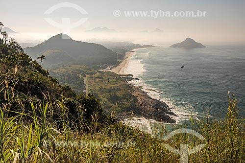 Vista da prainha e da Praia da Macumba a partir do Morro do Caeté  - Rio de Janeiro - Rio de Janeiro (RJ) - Brasil