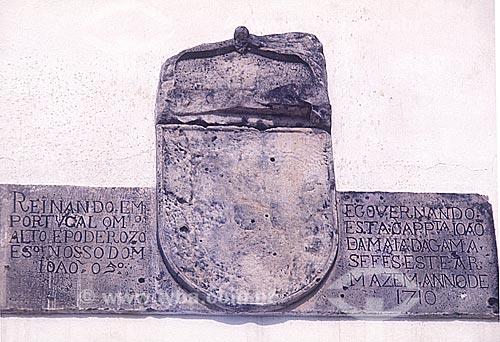 Detalhe de letreiro na fachada da Casa da Pólvora e dos Armamentos (1710)  - João Pessoa - Paraíba (PB) - Brasil