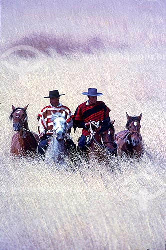 Cavaleiro gaúcho com traje típicos em coxilhas dos campos sulinos  - Rio Grande do Sul (RS) - Brasil