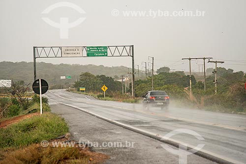 Trecho da Rodovia BR-116 durante a chuva -  sentido Juazeiro do Norte  - Milagres - Ceará (CE) - Brasil