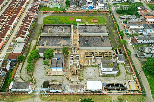 Foto feita com drone da Estação de Tratamento de Esgoto de Bertioga  - Bertioga - São Paulo (SP) - Brasil