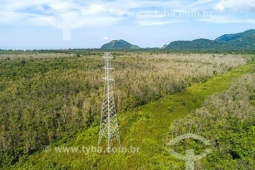 Foto feita com drone de torre de transmissão no Núcleo São Sebastião do Parque Estadual da Serra do Mar  - São Sebastião - São Paulo (SP) - Brasil