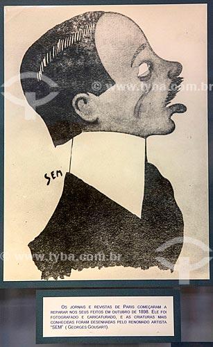 Caricatura de Santos Dumont pelo artista conhecido como SEM (pseudônimo de Georges Goursat) - reprodução do acervo do Museu Aeroespacial na Base Aérea dos Afonsos  - Rio de Janeiro - Rio de Janeiro (RJ) - Brasil