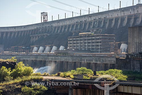 Vista de Usina Hidrelétrica Itaipu Binacional  - Foz do Iguaçu - Paraná (PR) - Brasil