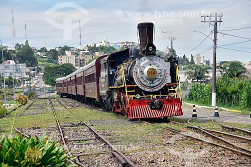 Locomotiva da Maria Fumaça 156 - que faz o passeio turístico entre as cidades de Bento Gonçalves, Garibaldi e Carlos Barbosa  - Carlos Barbosa - Rio Grande do Sul (RS) - Brasil