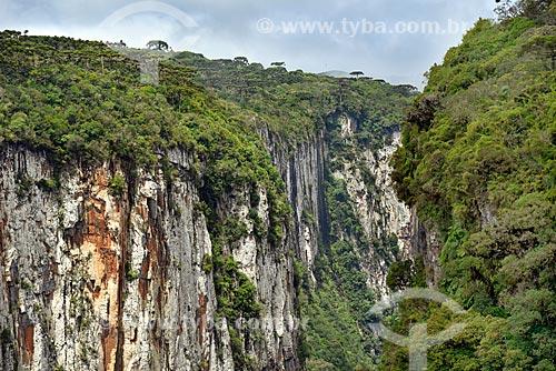 Vista do Cânion do Itaimbezinho no Parque Nacional dos Aparados da Serra durante a trilha do vértice  - Cambará do Sul - Rio Grande do Sul (RS) - Brasil
