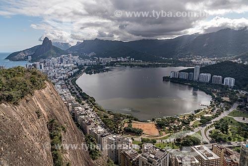 Vista geral da Lagoa Rodrigo de Freitas a partir do Morro do Cantagalo  - Rio de Janeiro - Rio de Janeiro (RJ) - Brasil