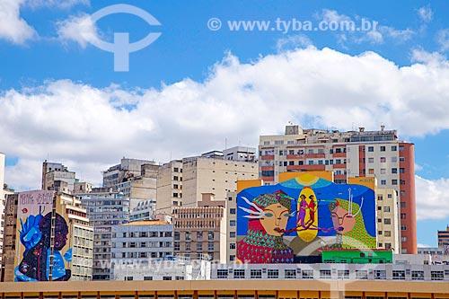 Grafite em prédios no centro de Belo Horizonte  - Belo Horizonte - Minas Gerais (MG) - Brasil