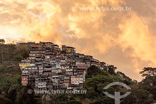 Vista do Morro dos Prazeres durante o pôr do sol  - Rio de Janeiro - Rio de Janeiro (RJ) - Brasil