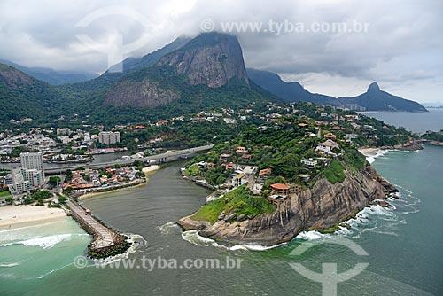 Foto aérea do Canal da Joatinga com a Pedra da Gávea  - Rio de Janeiro - Rio de Janeiro (RJ) - Brasil