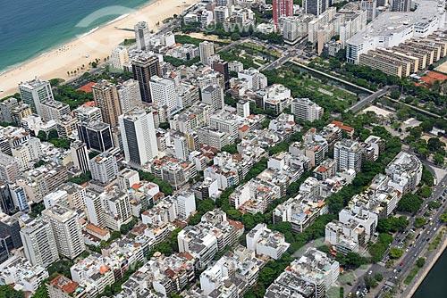 Foto aérea de prédios no bairro de Ipanema com o canal do Jardim de Alah (1938)  - Rio de Janeiro - Rio de Janeiro (RJ) - Brasil