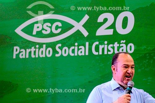 Pastor Everaldo - candidato ao senado pelo Partido Social Cristão (PSC) - durante comício no Clube Monte Sinai  - Rio de Janeiro - Rio de Janeiro (RJ) - Brasil
