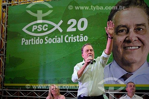 Paulo Rabello - candidato à vice-presidência pelo Partido Social Cristão (PSC) - durante comício no Clube Monte Sinai  - Rio de Janeiro - Rio de Janeiro (RJ) - Brasil