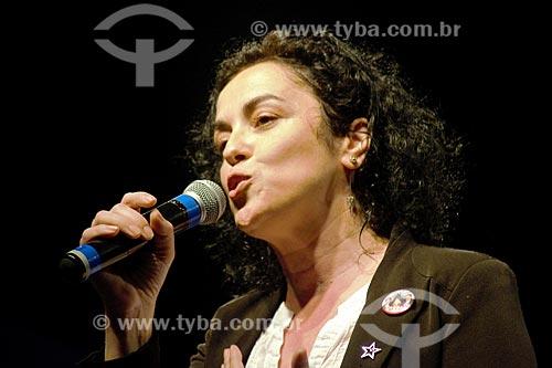 Marcia Tiburi - candidata à governadora - durante comício da campanha de Fernando Haddad à presidência pelo Partido dos Trabalhadores (PT) na Cinelândia  - Rio de Janeiro - Rio de Janeiro (RJ) - Brasil