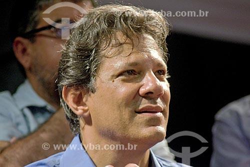 Detalhe de Fernando Haddad em comício de campanha à presidência pelo Partido dos Trabalhadores (PT) na Cinelândia  - Rio de Janeiro - Rio de Janeiro (RJ) - Brasil