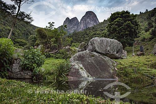 Vista dos Três Picos de Salinas no Parque Estadual dos Três Picos a partir de Nova Friburgo  - Nova Friburgo - Rio de Janeiro (RJ) - Brasil