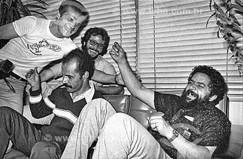 Luiz Inácio Lula da Silva, Djalma Dias e outros em momento de descontração no Sindicato dos Metalúrgicos  - São Bernardo do Campo - São Paulo (SP) - Brasil