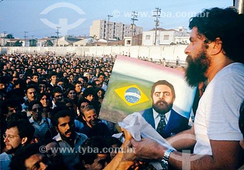 Luiz Inácio Lula da Silva durante a assembleia no Estádio de Vila Euclides em São Bernardo do Campo - década de 1980  - São Bernardo do Campo - São Paulo (SP) - Brasil