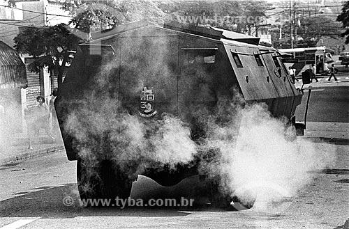 Veículo blindado usado na repressão ao movimento grevista dos metalúrgicos pelo Exército Brasileiro  - São Bernardo do Campo - São Paulo (SP) - Brasil