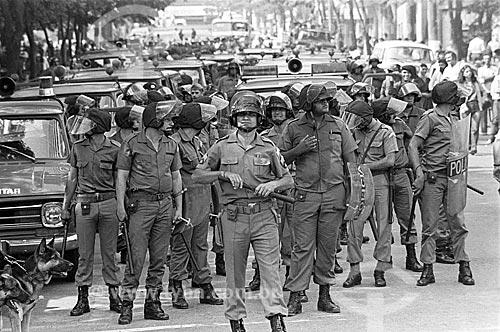 Repressão ao movimento grevista dos metalúrgicos pelo Exército Brasileiro  - São Bernardo do Campo - São Paulo (SP) - Brasil