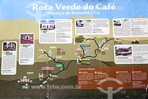 Painel de informação turística indicando os pontos turísticos da Rota Verde do Café  - Guaramiranga - Ceará (CE) - Brasil